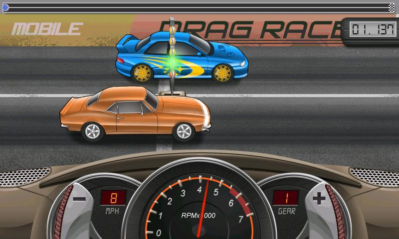 Example of Android Drag Racing - Muscle Car Losing over Import
