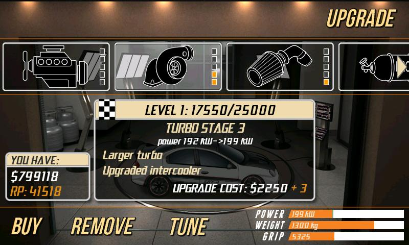 Android Drag Racing Car Upgrade Page