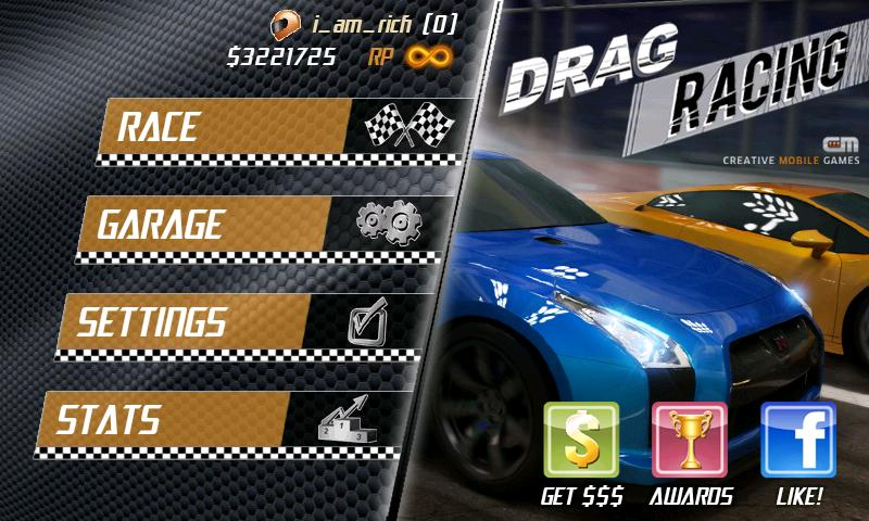 Drag Racing Android Game Homescreen