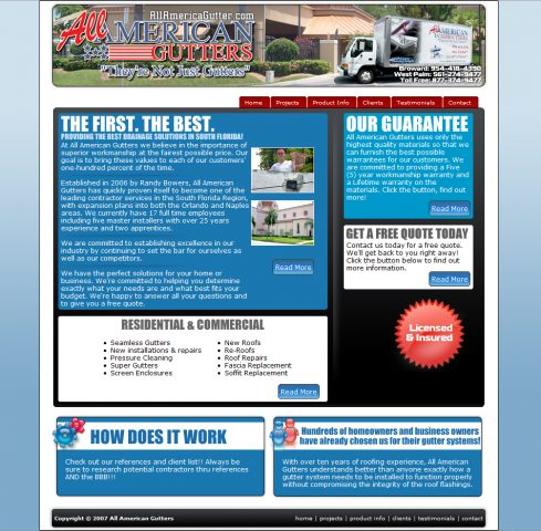 All American Gutters Website Designed by Dro Simoes at allamericagutter.com