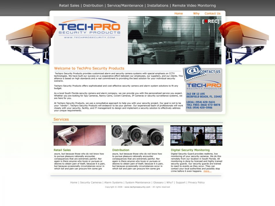Screen Shot of TechProSecurity.com Designed by Dro Simoes