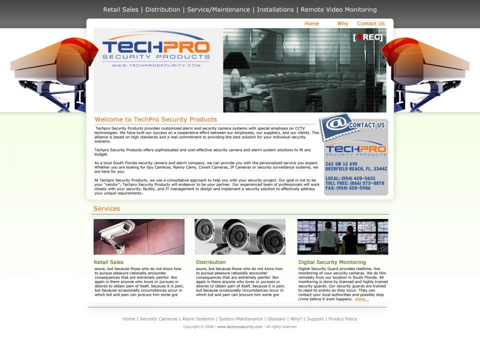 Screen Shot of TechProSecurity.com Designed by Dro Simoes