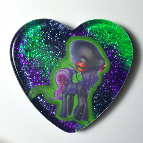 Green Large My Little Cthulu Heart Necklace