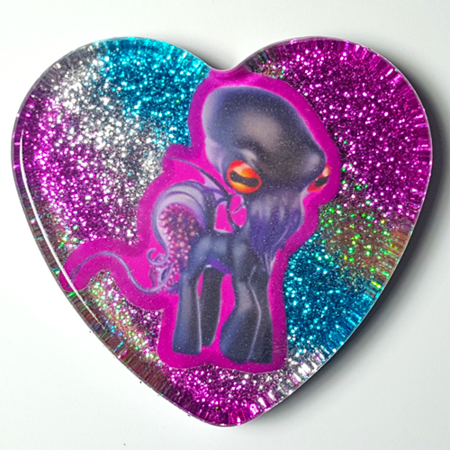 Large My Little Cthulu Heart Necklace - Pink