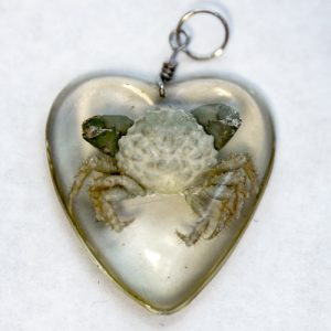 Emerald Crab Heart Resin Pendant front