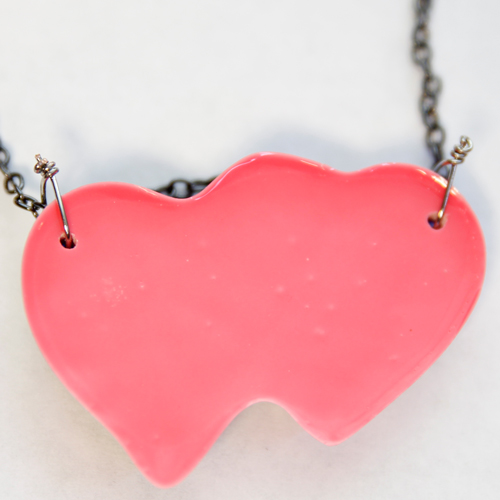 Glowing Double Heart Resin Necklace