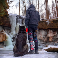 The Dro with Luna the Wolfdog Waterfall Photo